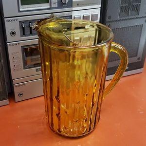 Vintage Glass Pitcher Amber Color